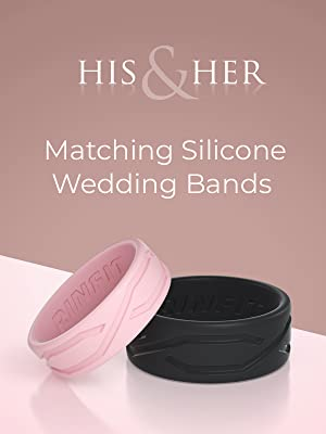 his and hers wedding bands pink and black color rubber
