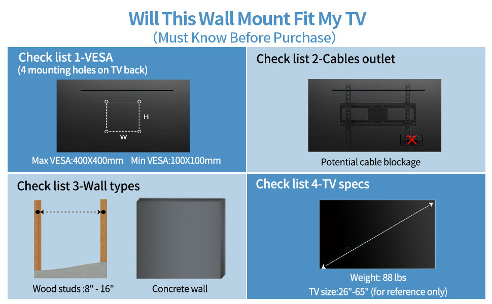 TV WALL MOUNT 65 INCH 55IN