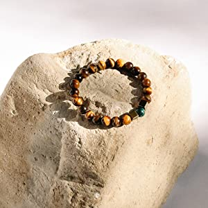 Tiger Eye Stone Bead Bracelets for Men and Women