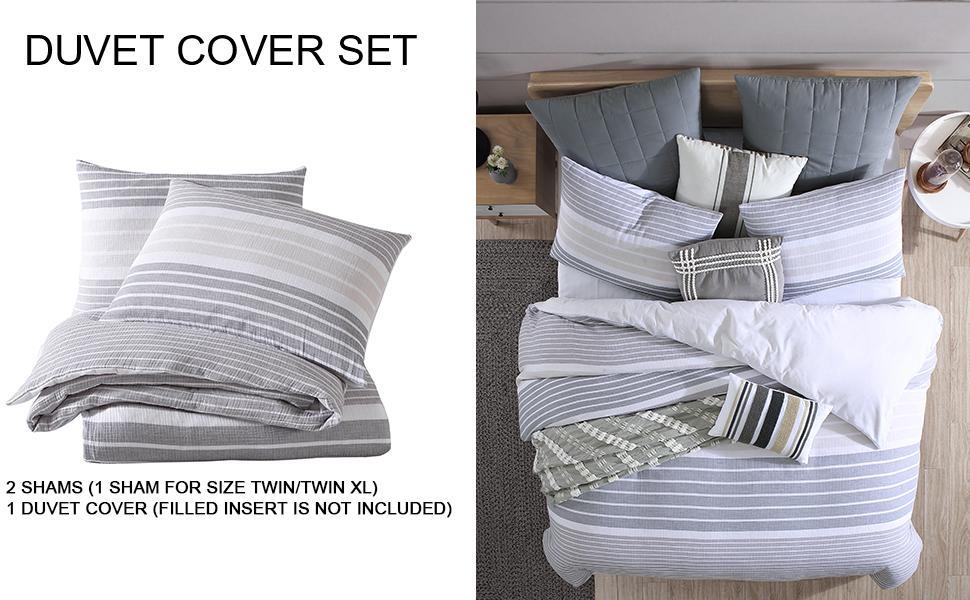 Cordelia Gauze Stripe Duvet Cover Set