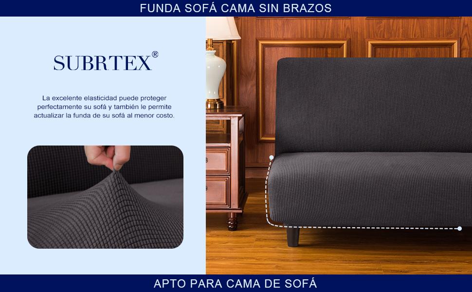 subrtex Funda Sofa Cama sin Brazos Clic Clac Elastica Fundas de Sofa sin Reposabrazos Apoyabrazos Ajustable Anti Ara/ñazos Marfil