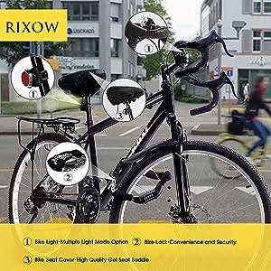 coj/ín para Asiento de Bicicleta con Funda Resistente al Agua y al Polvo y Correa de Seguridad Reflectante Inroserm Funda de Gel para sill/ín de Bicicleta Asiento Extra Suave para Ciclismo de monta/ña