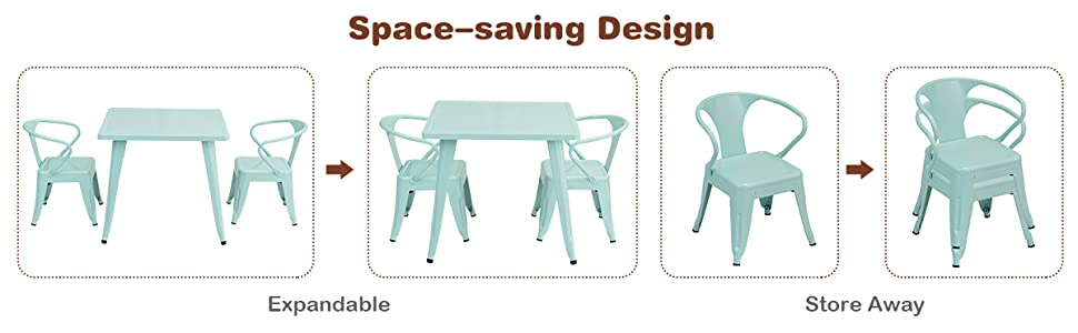 space saving design, and stackable chairs