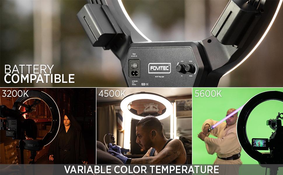Fovitec LED Bi-Colour Ringlight for beauty, makeup, tattoo artists, portrait, vlogging