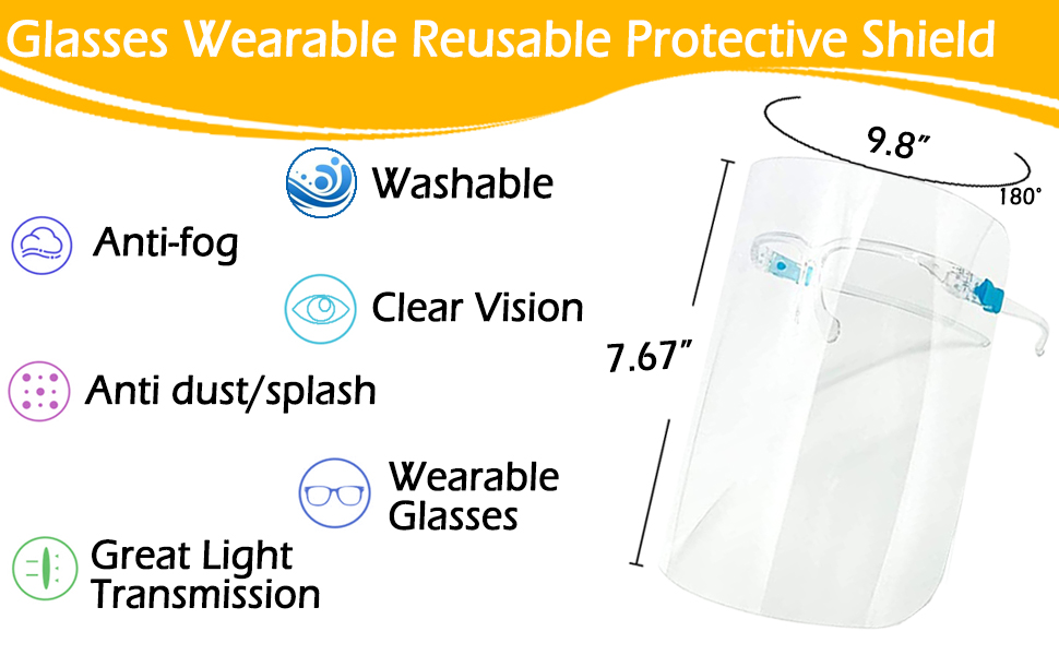 glasses wearable protect face shield