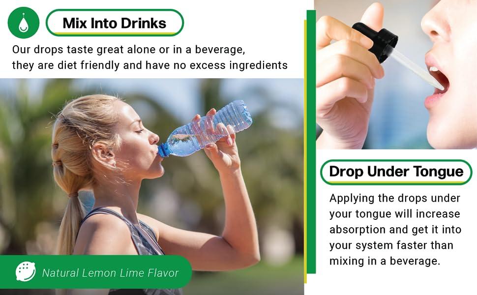 miv into drinks lemon lime flavor drop under tongue