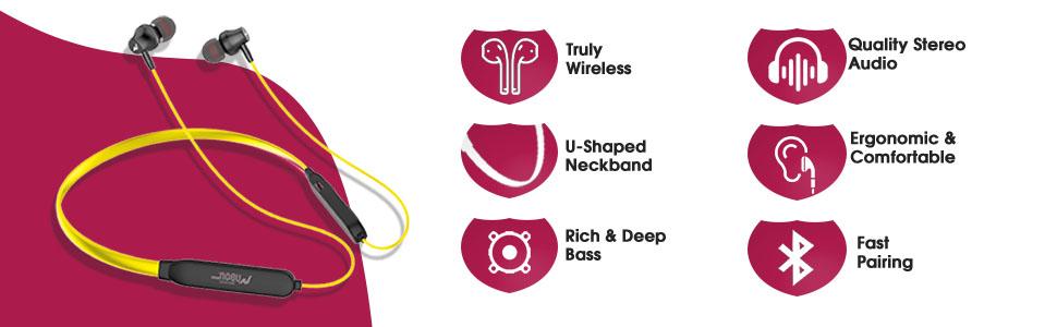 UBON Wireless Neckband BT5200 Bass Factory 2.0 in Ear Earphone 15 Hours Playtime Water - SPN-FOR1