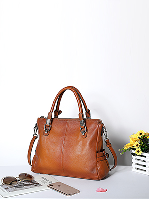 Genuine leather top-handle bag for women