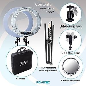 Fovitec Ring Light Kit contents