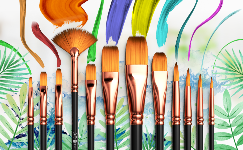 Artist Paint Brush Set of 12 Highest Quality  Paint Brushes Set of 12 for Acrylic Oil and Watercolor