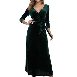 InsNova Women's Long Sleeve Elegant Velvet Maxi Formal Evening Dresses with Belt