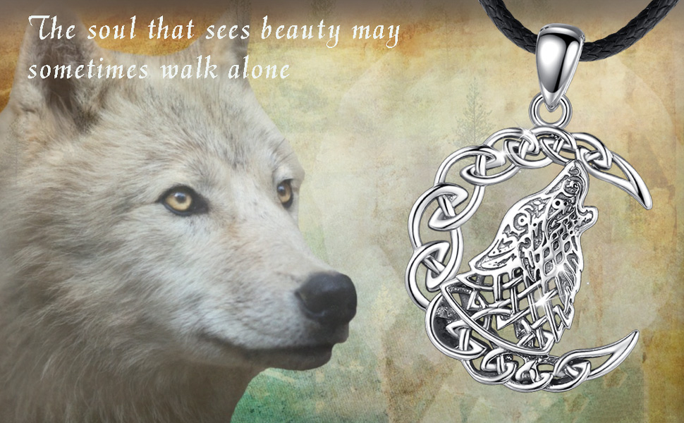 EUDORA Sterling Silver Wolf Necklace
