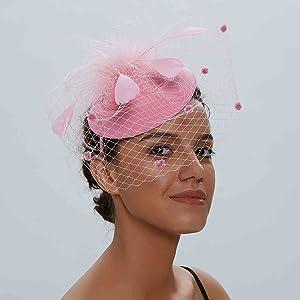 Women's pillbox bowler hat kate middleton hat black fascinator with Veil
