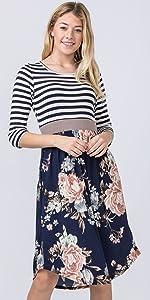 3/4 Sleeve Stripe Navy Floral Curved Hem Midi Dress…