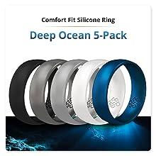 Deep ocean blue silicone ring
