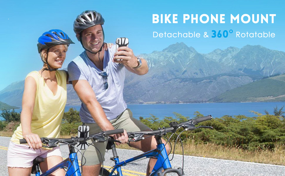Aonkey bike phone mount, detachable and 360 degrees rotatable phone holder for bicycle