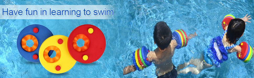 SKYSPER 8 Piezas Manguitos de Natación para Niños Flotador Bebe Piscina Discos Flotantes Hechos de Espuma con Certificación Seguridad Aprender a Nadar: Amazon.es: Deportes y aire libre