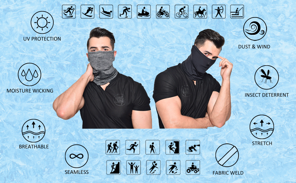 JPGO Unisex Face Cover Scarf Ear Loops UV Dust Wind Protection Neck Gaiter 1 PCS