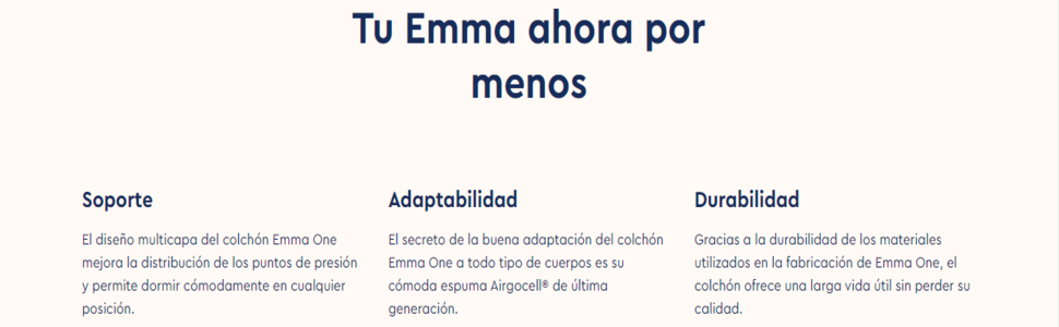 Emma One 150x190 cm Firmeza Alta - Colchón Viscoelástico Premium - Transpirable, Adaptable, Color Blanco (Todas Las Medidas)