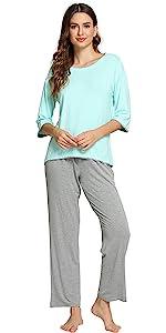Womens Bamboo Sleepwear Pajamas Pants Set