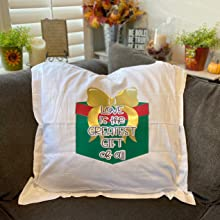 unique heat press designs adhered to a white throw pillow. Custom made with Kassa HTV vinyl
