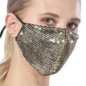 Glitter Face Mask for Women - Fancy Face Mask Sequin Mask - Gold Fancy Mask Sequin Face for Women
