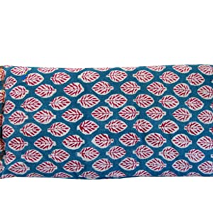 Blue Leaf Eye Pillow scented lavender block print cotton yoga massage relaxation natural peacegood