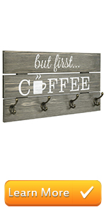 8-Hook But First Coffee Vintage Gray Solid Wood Mug Storage Rack Wall Mounted Decorative Sign