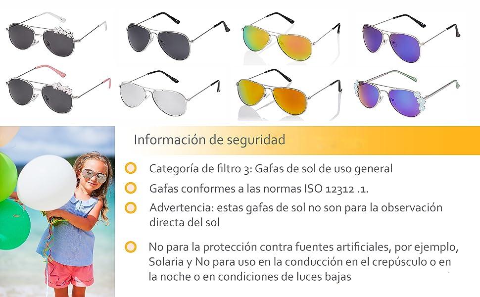 Ultra Niños Gafas de Sol Piloto de Estilo Gafas Clásicas Niños Niñas UV400 Metal