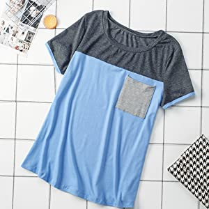 Colorblock t shirt with pocket