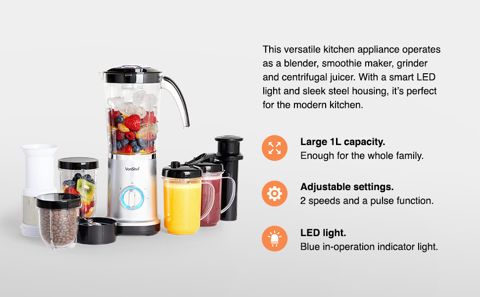 VonShef Blender, Juicer & Grinder 4 in 1 Multi Functional, 17 Piece Set with 2 Speed Settings and Pulse Function Ideal for Crushing Ice, Making