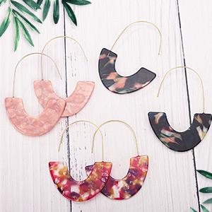 Mottled Acrylic Earrings Resin Drop Dangle Earring Hoop Statement Earrings