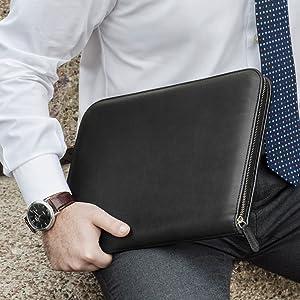 leather portfolio zippered