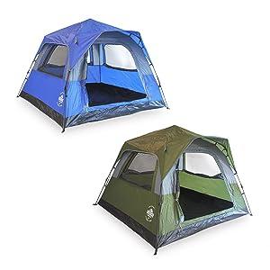 Lumaland Leichtes Outdoor Pop Up Comfort Zelt Wurfzelt für 3 Personen Zelt Camping Reise Trekking Festival Sekundenzelt 210 x 210 x 140 cm Tragetasche