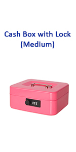 cash box with combination lock pink