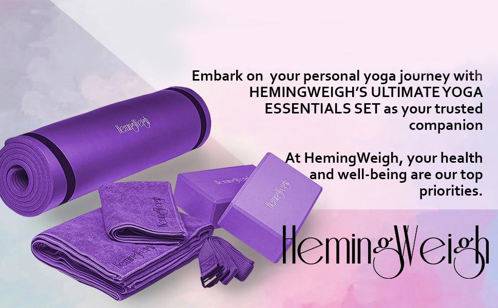 Yoga kit, mat, strap, foam blocks, towels