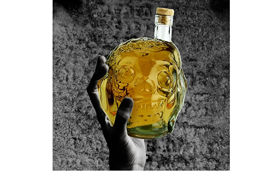 zombie glass liquor decanter whiskey wine scotch 27 ounce ounces drink alcohol Halloween party skull