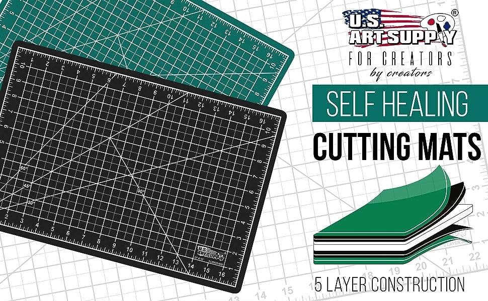 U.S. Art Supply Self Healing Cutting Mats Black Green