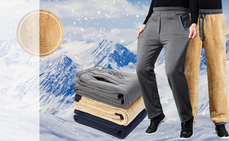 Mens Winter Fleece Casual Jogger Sweatpants Straight Pants