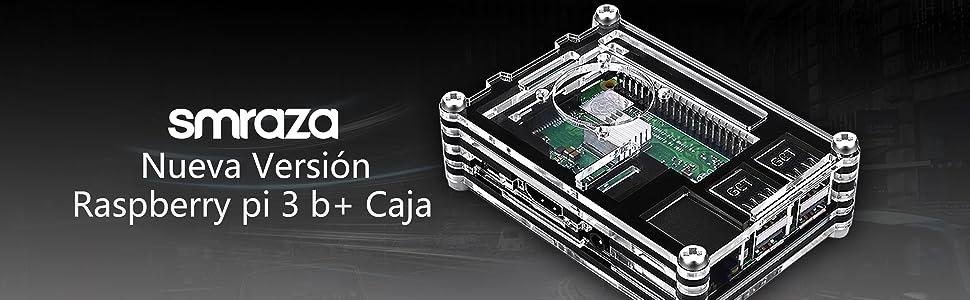 Smraza para Raspberry Pi 3 b+ Caja con Cargador de 5V / 3A con Conector ON/Off + 3X Disipador + Ventilador Compatible con Carcasa Raspberry Pi 3 2 Modelo b+ b (No