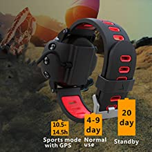 SoonCat GPS Watch for Men, Running Smart Watch All Black Military Mens Outdoor Sports Watch (Red)