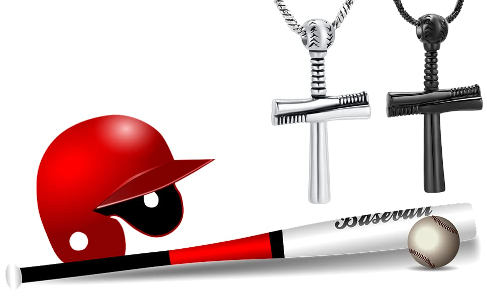 Baseball Cross Urn Pendant Necklace for Ashes Holder Keepsake Memorial Jewelry Urn Jewelry