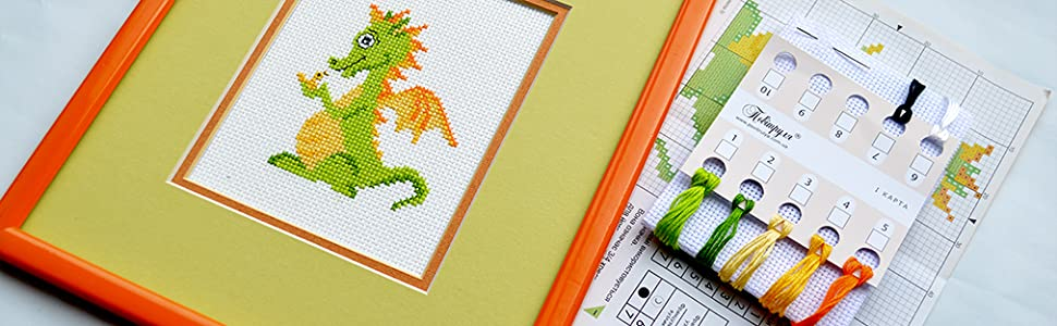 Baby Dragon Counted Cross Stitch Kit Mandala Embroidery Pattern for Medium Starter