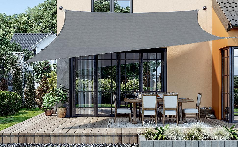 SONGMICS 4 x 4 m HDPE Vela de Sombra, Protección Solar, Resistente a los Rayos UV, para Jardín, Terraza y Balcón Transpirable Permeable, Gris Ahumado ...