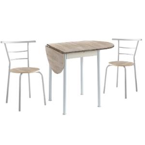 Conjunto Mesa de Cocina Extensible y 2 Sillas - Modelo Leva - Estilo Moderno - Acabado Color Roble/Blanco - Material MDF/Metal - Medidas 55/115 x 61 x 74 cm: Amazon.es: Hogar