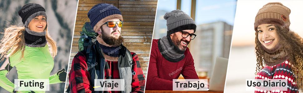 Petrunup Invierno Beanie Gorro de Punto Sombrero y Cuello Bufanda Gruesa y Suave Forrado Conjunto de 2//3 Piezas para Hombres Mujeres