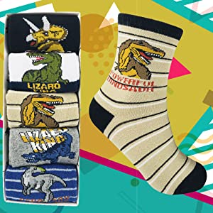 Podinor Boy Dinosaur Socks Kids Cartoon Animals Pattern Cotton Crew Socks for Ages 4 to 7 and 8 to 12 Years Old