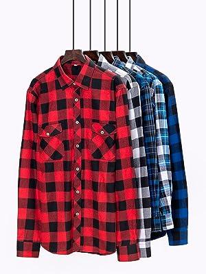 Franela Algodón Ajuste Regular Hombres Manga Larga Camisas