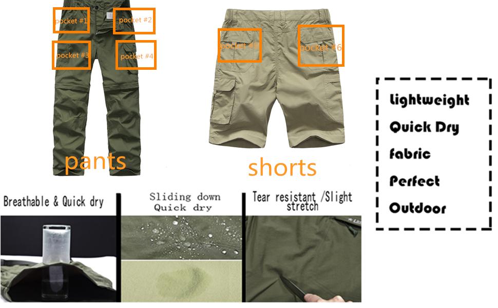 Amazon Com Pantalones De Excursionismo Para Hombre Convertibles De Secado Rapido Ligeros Con Cremallera Para Viaje Safari Pesca Al Aire Libre Clothing