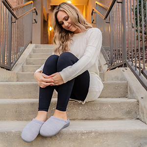 LongBay Women's Comfy Slip On Slippers with Cozy Chenille Upper and Indoor Outdoor Sole
